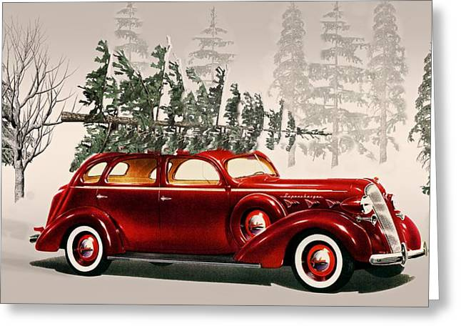 Cabin Wall Digital Art Greeting Cards - Old Time Christmas Tradition Tree Cutting  Greeting Card by David Dehner