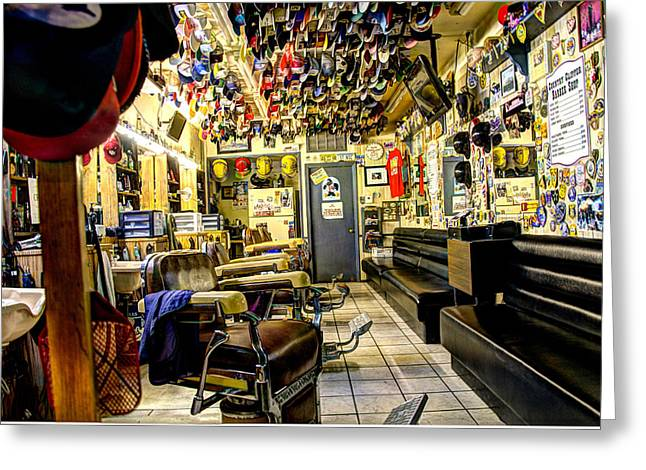 Barberchair Greeting Cards - Old Time Downtown Barbershop Greeting Card by Jon Berghoff