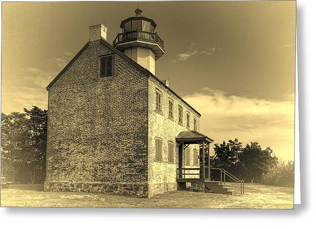 Old Time East Point Light Greeting Card by Joan Carroll