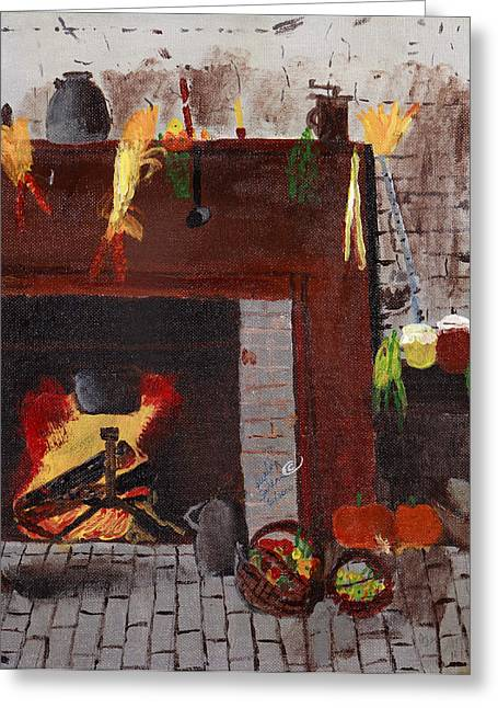 Old Grinders Paintings Greeting Cards - Old time Fire Place Greeting Card by Swabby Soileau