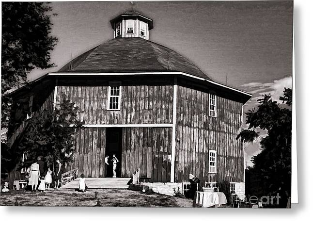 Hayloft Greeting Cards - Old Time Iowa Wedding Barn Greeting Card by Luther   Fine Art