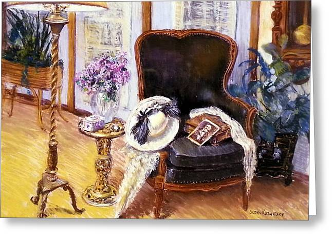 Interior Still Life Pastels Greeting Cards - Old Time Memories II Greeting Card by Susan Kuznitsky