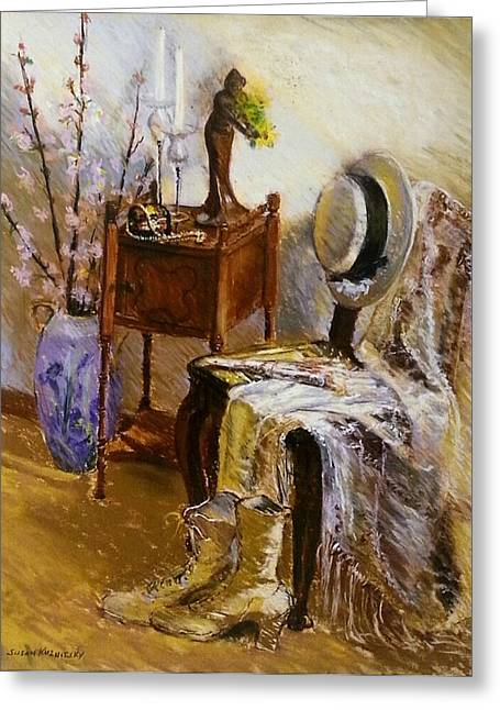 Interior Still Life Pastels Greeting Cards - Old Time Memories  Greeting Card by Susan Kuznitsky