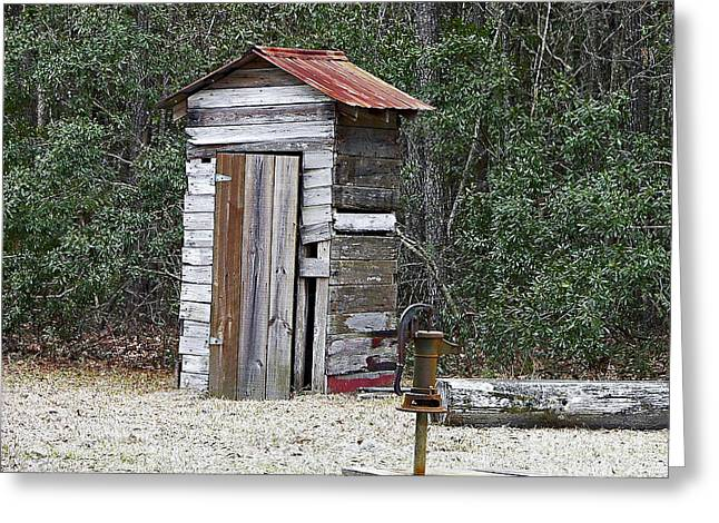 Al Powell Photography Usa Greeting Cards - Old time Outhouse and Pitcher Pump Greeting Card by Al Powell Photography USA