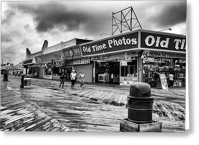 Seaside Heights Greeting Cards - Old Time Photos mono Greeting Card by John Rizzuto