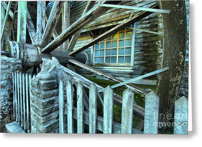Grist Wheel Greeting Cards - Old Time Wheels Greeting Card by Adam Jewell