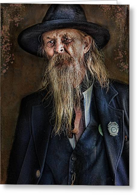 Old Man With Beard Greeting Cards - Old Timer Greeting Card by Barbara Manis