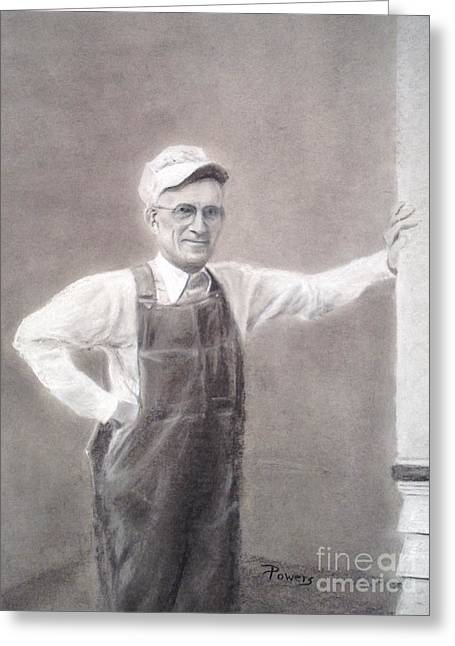 Overalls Drawings Greeting Cards - Old-timer in Overalls Greeting Card by Mary Lynne Powers