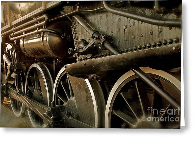 Locomotive Wheels Greeting Cards - Old Timer Greeting Card by Rick  Monyahan