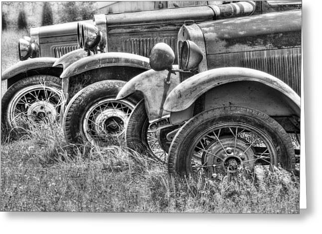 Old Trucks Greeting Cards - Old Timers BW Greeting Card by Naman Imagery