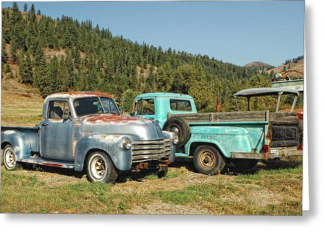 Farm Truck Greeting Cards - Old Timers Greeting Card by Donna Blackhall