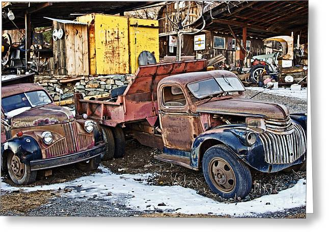Rusted Cars Greeting Cards - Old Timers Looking for Work Greeting Card by Lee Craig