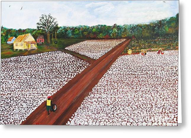 """""""cotton Pickers"""" Greeting Cards - Old Times There are Not Forgotten ... boy Greeting Card by John Burch"""