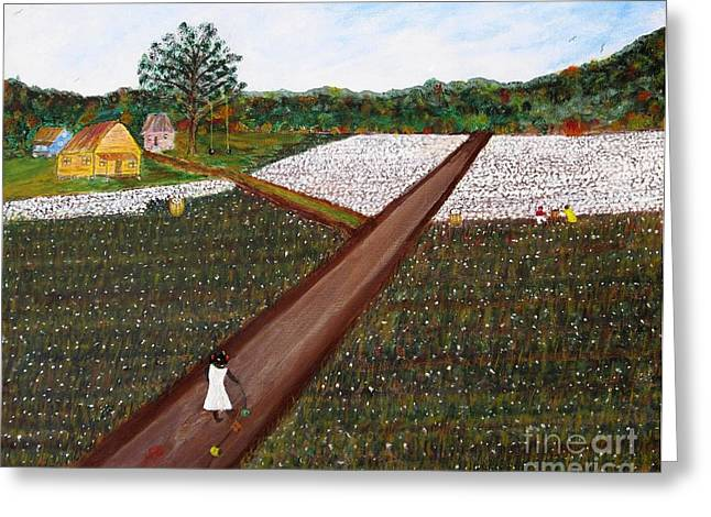 """""""cotton Pickers"""" Greeting Cards - Old Times There are Not Forgotten...  girl Greeting Card by John Burch"""