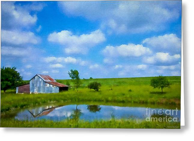 Outbuildings Greeting Cards - Old Tin Barn in Spring Greeting Card by Anna Surface