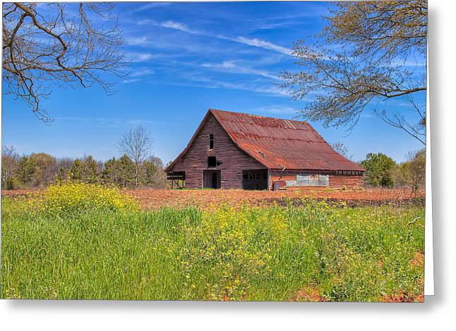 Red Clay Greeting Cards - Old Tin Roofed Barn In Spring - Rural Georgia Greeting Card by Mark Tisdale