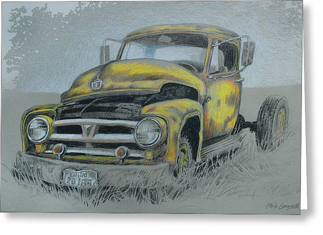 Classic Pickup Paintings Greeting Cards - Old Tmer Greeting Card by Chris Langseth