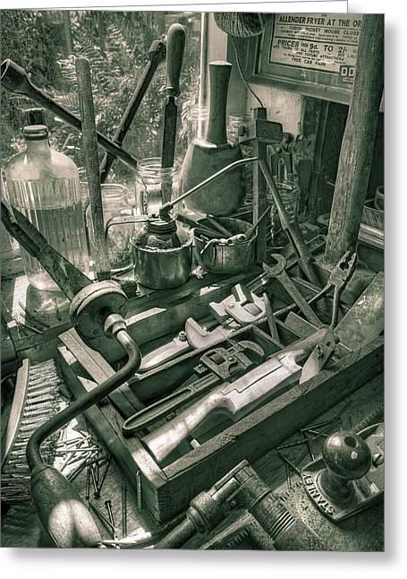 Saw Greeting Cards - Old Tools Greeting Card by Mal Bray