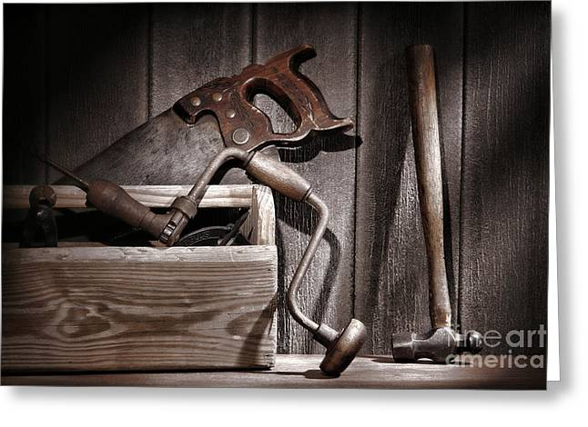 Carpenter Greeting Cards - Old Tools Greeting Card by Olivier Le Queinec
