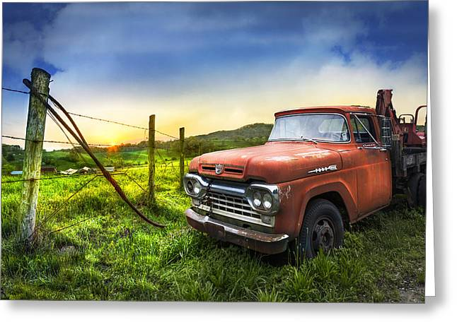 Old Tow Truck Greeting Card by Debra and Dave Vanderlaan