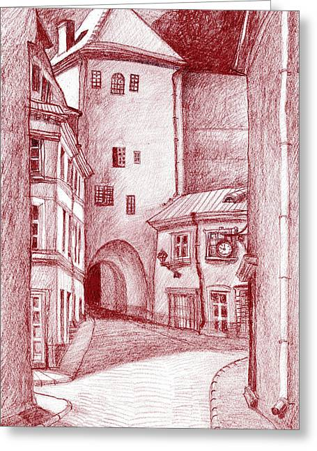 Tallinn Greeting Cards - Old Tower Greeting Card by Serge Yudin