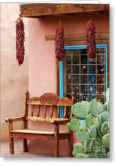 Catherine Window Greeting Cards - Old Town Albuquerque Shop Window Greeting Card by Catherine Sherman