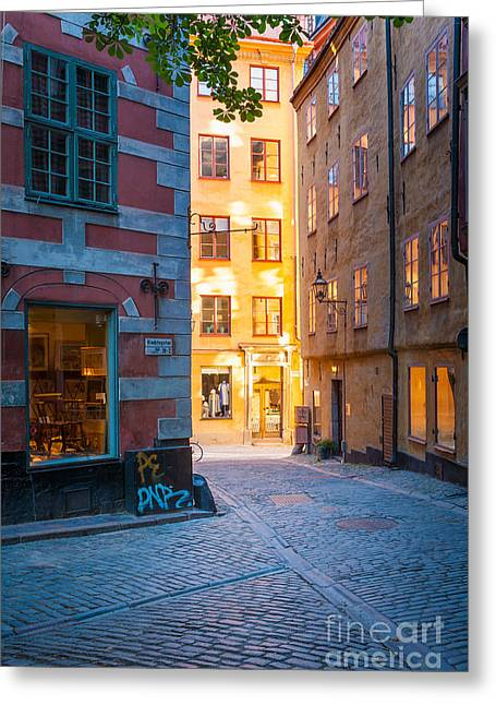 Europe Greeting Cards - Old Town Alley Greeting Card by Inge Johnsson