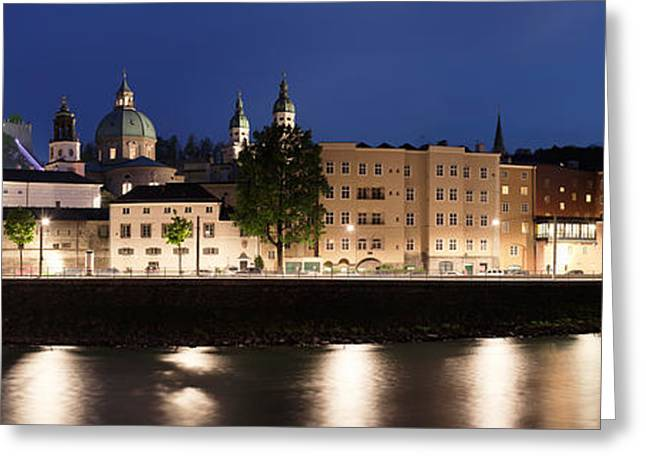 Salzburg Greeting Cards - Old Town At Dusk, Hohensalzburg Castle Greeting Card by Panoramic Images