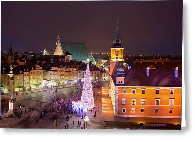 Polish Old Town Greeting Cards - Old Town at Night in Warsaw Greeting Card by Artur Bogacki