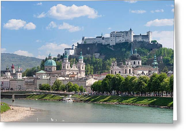 Salzburg Greeting Cards - Old Town At Salzach River Greeting Card by Panoramic Images