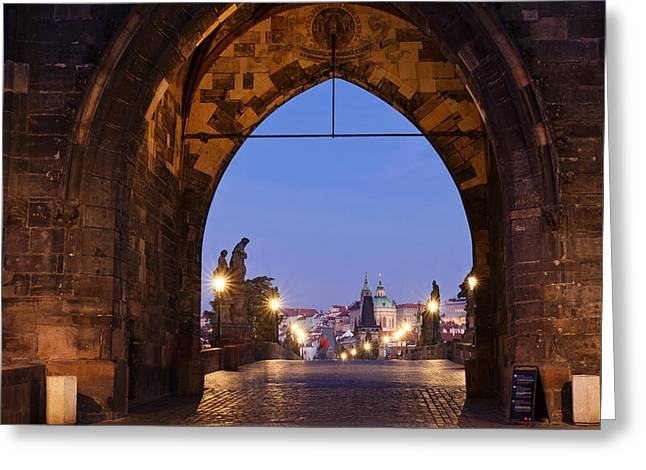Prague Towers Greeting Cards - Old Town Bridge Tower, Prague, Czech Greeting Card by Panoramic Images