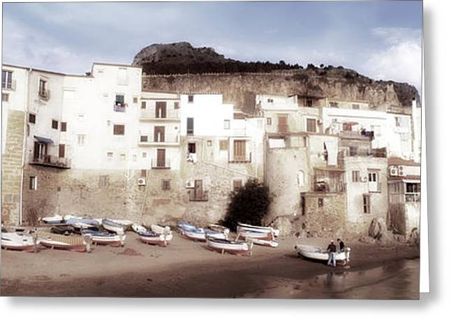 Overcast Day Greeting Cards - Old Town, Cefalu, Sicily, Italy Greeting Card by Panoramic Images