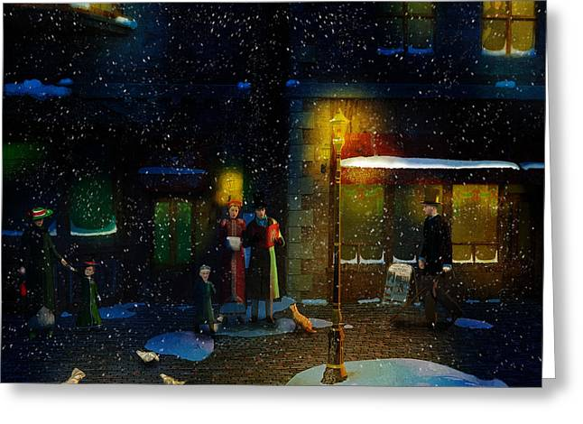 Snowy Evening Digital Art Greeting Cards - Old Town Christmas Eve Greeting Card by Ken Morris