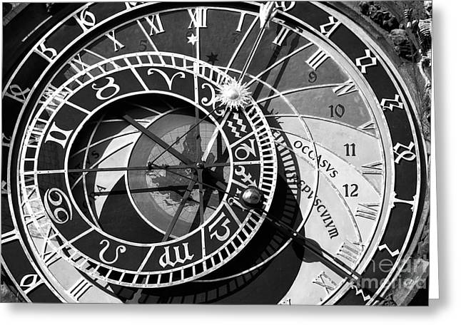 Astronomical Clock Greeting Cards - Old Town Clock Greeting Card by John Rizzuto