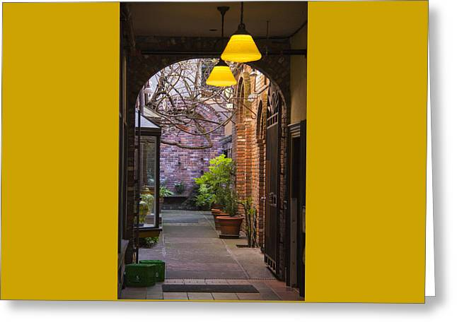 Old Town Courtyard In Victoria British Columbia Greeting Card by Ben and Raisa Gertsberg