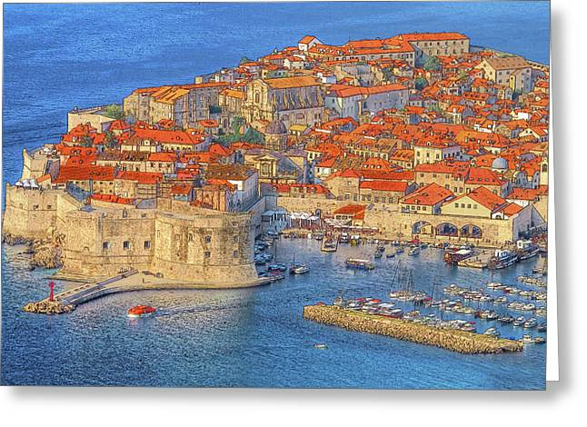 Red Tile Roof Greeting Cards - Old Town Dubrovnik Greeting Card by Douglas J Fisher