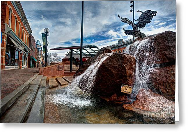 Fort Collins Digital Greeting Cards - Old Town Fountain Greeting Card by JulieannaD Photography