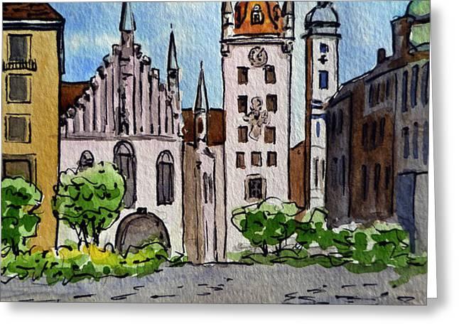 Old Town Hall Munich Germany Greeting Card by Irina Sztukowski