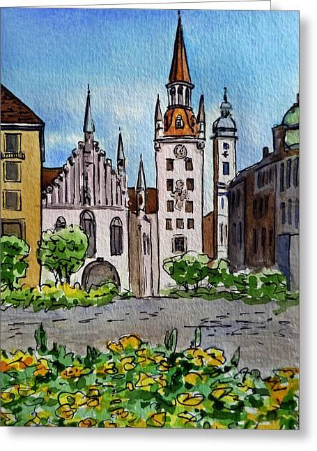 Sketchbook Greeting Cards - Old Town Hall Munich Germany Greeting Card by Irina Sztukowski