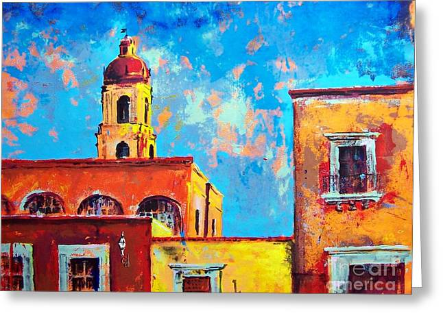 Cupola Paintings Greeting Cards - Old town hot day Greeting Card by Cristiana Marinescu