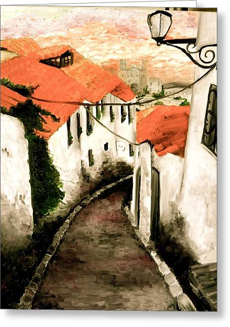 Corner Kitchen Greeting Cards - Old Town in Cusco Greeting Card by Liz Young