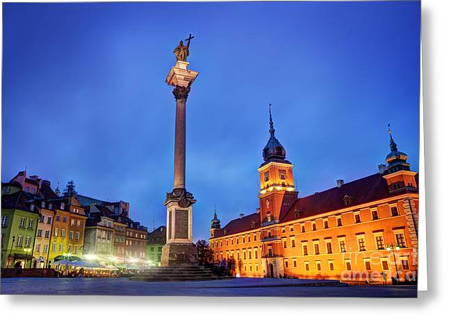 Polish Old Town Greeting Cards - Old town in Warsaw Poland at night Greeting Card by Michal Bednarek