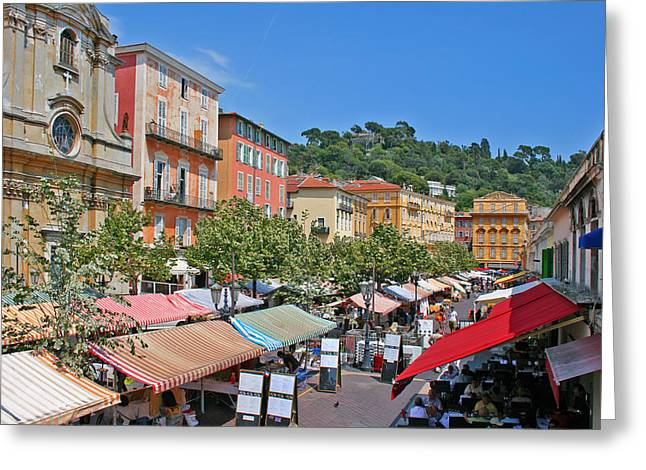 Cours Saleya Greeting Cards - Old town market in Nice Greeting Card by Alan Kilpatrick