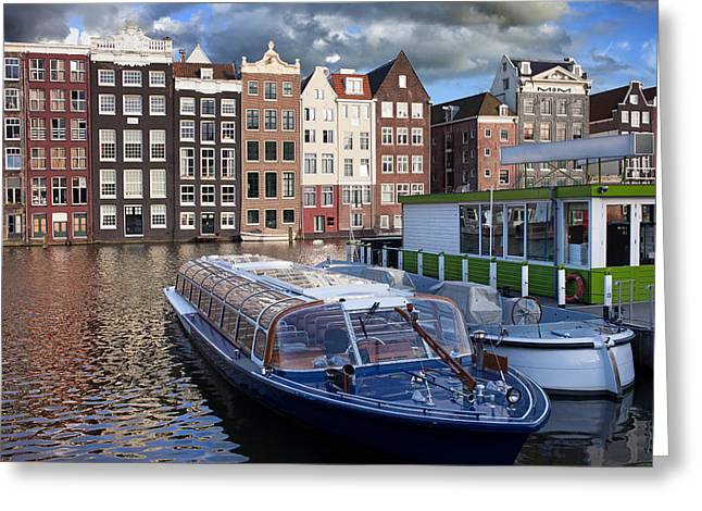Boat Cruise Greeting Cards - Old Town of Amsterdam in Netherlands Greeting Card by Artur Bogacki
