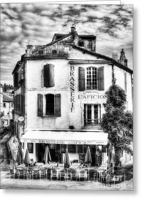 Southern France Greeting Cards - Old Town Of Arles 2 BW Greeting Card by Mel Steinhauer