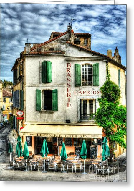 Green Umbrellas Greeting Cards - Old Town Of Arles 2 Greeting Card by Mel Steinhauer