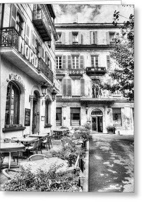 European Restaurant Greeting Cards - Old Town Of Arles 4 BW Greeting Card by Mel Steinhauer