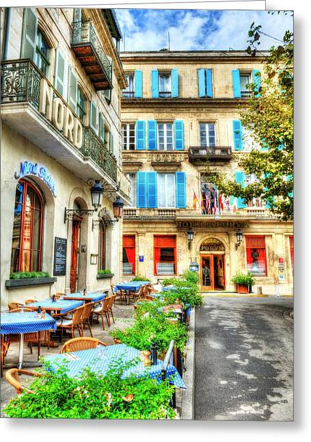 European Restaurant Greeting Cards - Old Town Of Arles 4 Greeting Card by Mel Steinhauer