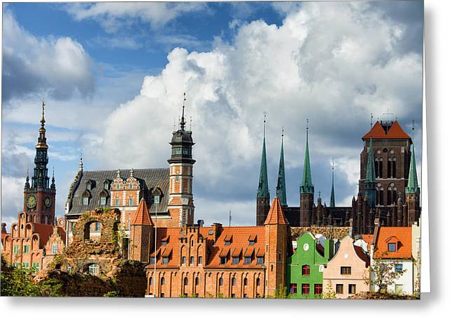Polish Old Town Greeting Cards - Old Town of Gdansk Skyline Greeting Card by Artur Bogacki