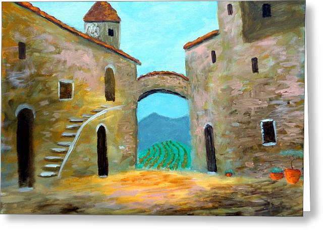 Old Town Of Tuscany Greeting Card by Larry Cirigliano